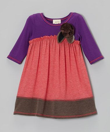 Purple with coral plain outfit