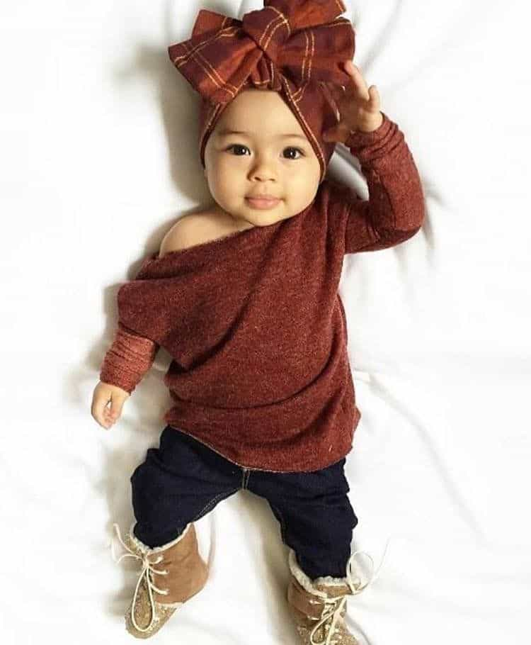 Tan with maroon baby set