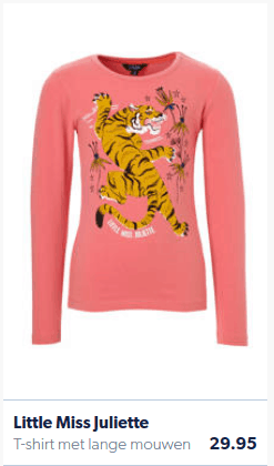 T-shirt for girls with tiger