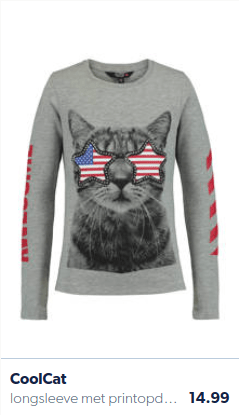 girls shirt with a cat on it