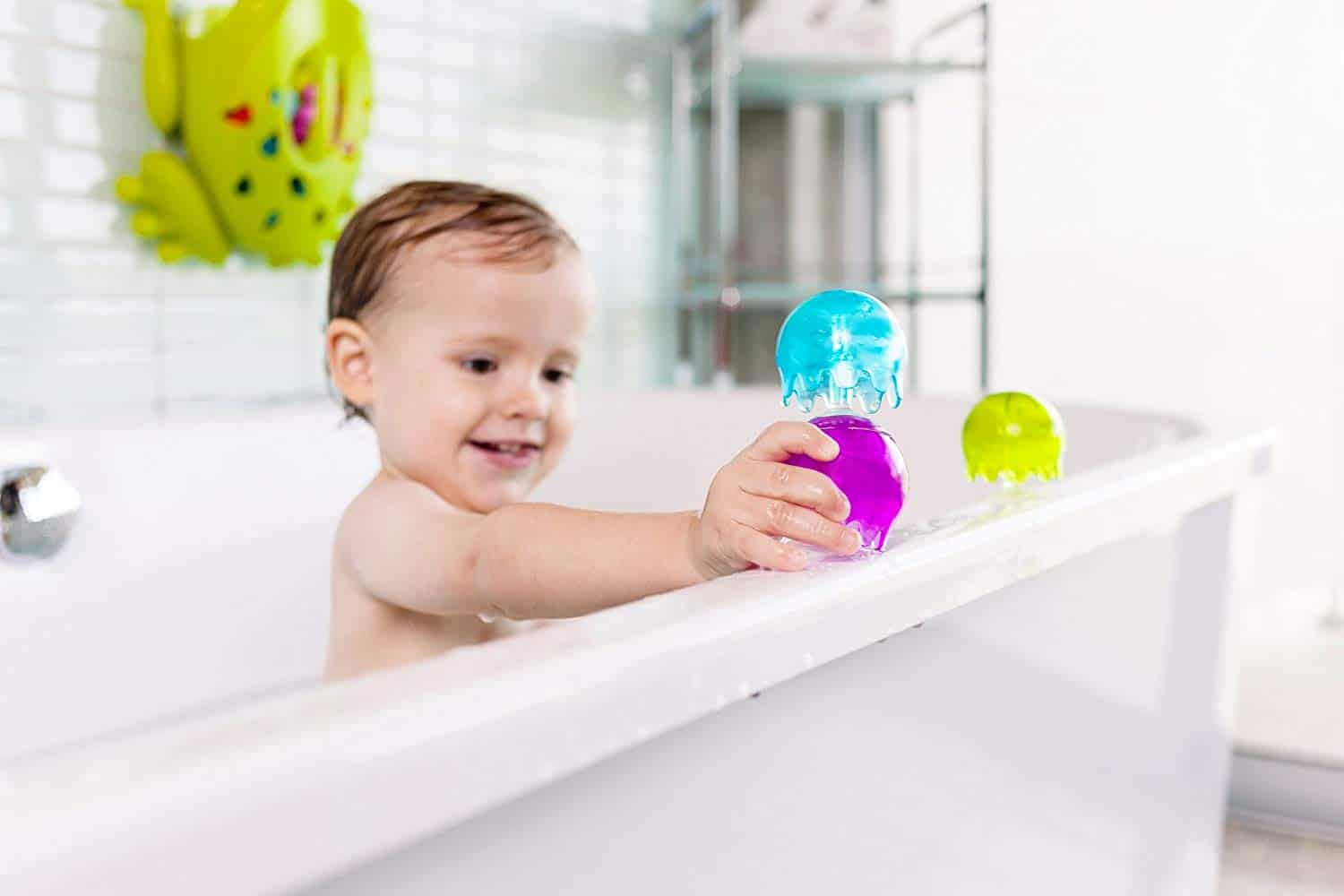 Boon Jellies suction cup toys in the bath