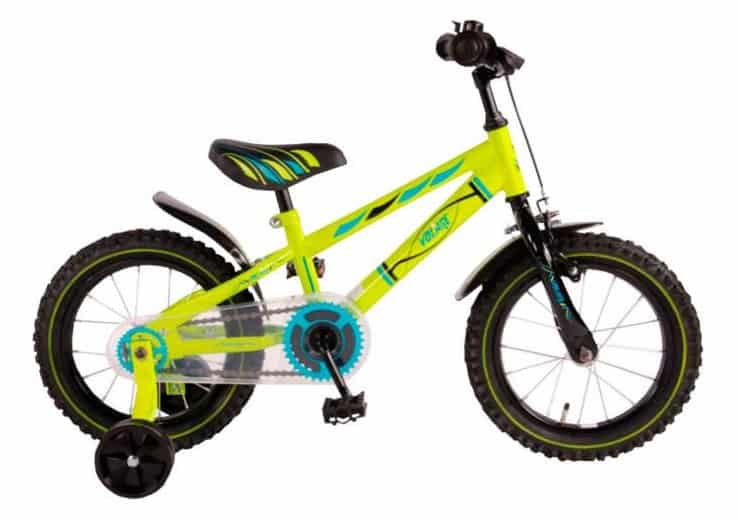 Volare Electric Green 14 inch children's bicycle with training wheels