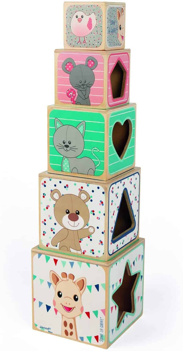Cutest baby building blocks: Janod Sophie the Giraffe Stacking Tower