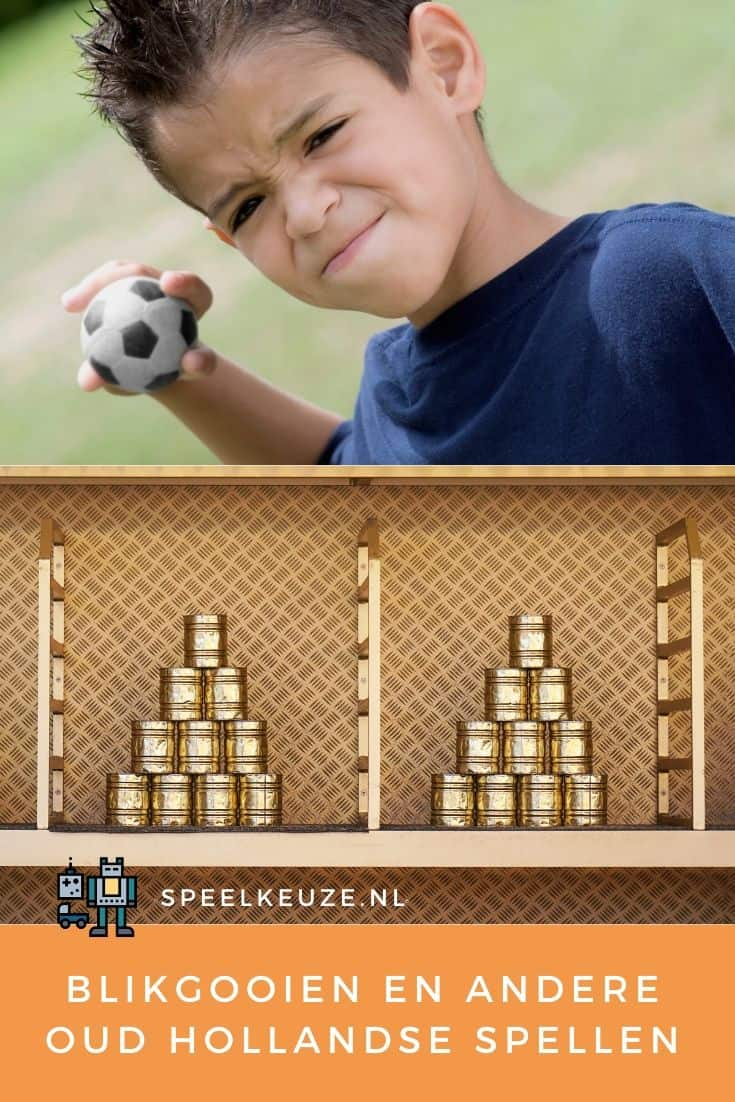 Boy throws a ball at stacks of cans