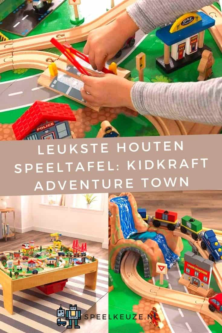 Collage of three images of the KidKraft wooden adventure town game table