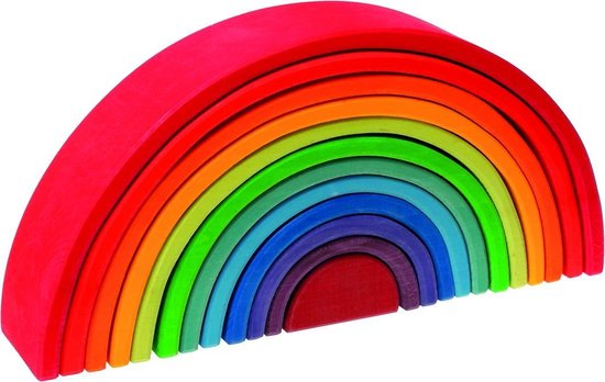 Most Colorful Wooden Toys: Grimm's Wooden Rainbow Stacking Set