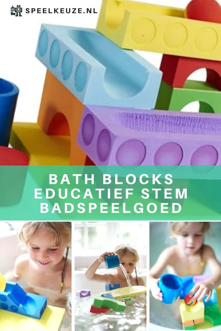 Meisje speelt met educatieve STEM bath blocks in bad