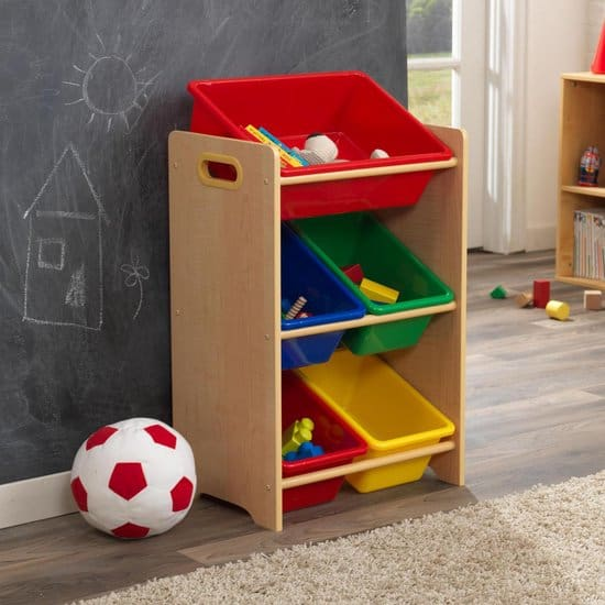 Best toy cabinet with compartments for bins: KidKraft Toy storage unit with angled storage bins