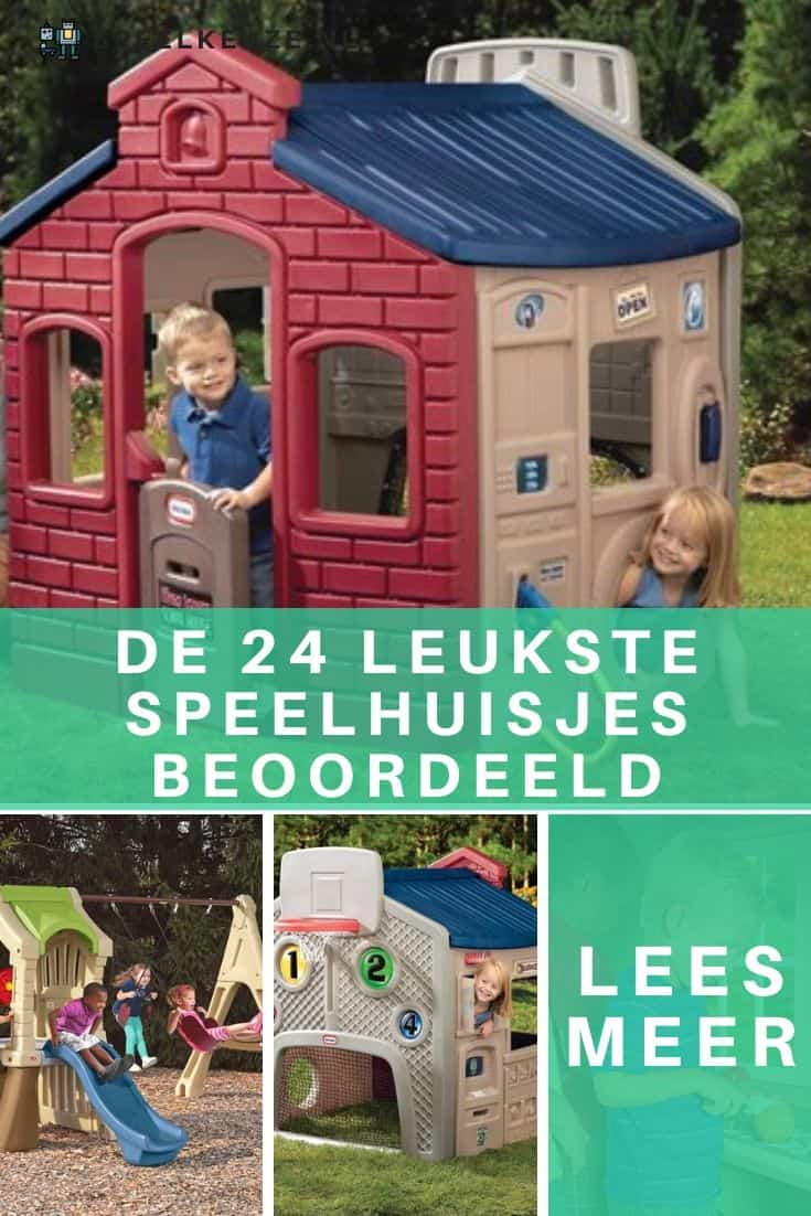 Photo collage of 4 types of playhouses for children