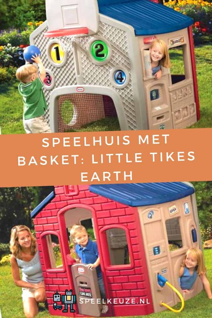 Photo of boy and girl playing with the Little Tikes Earth playhouse