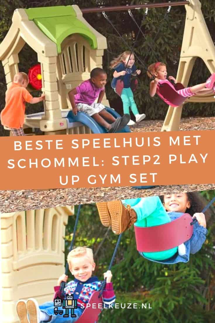 Photo of children playing on the swings and slide of the Step2 Play Up Gym playhouse