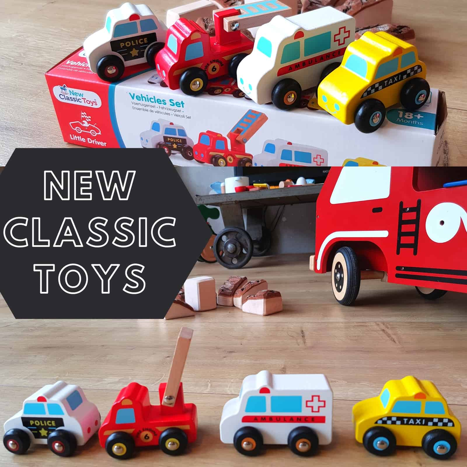 New classic toys wooden toddler cars