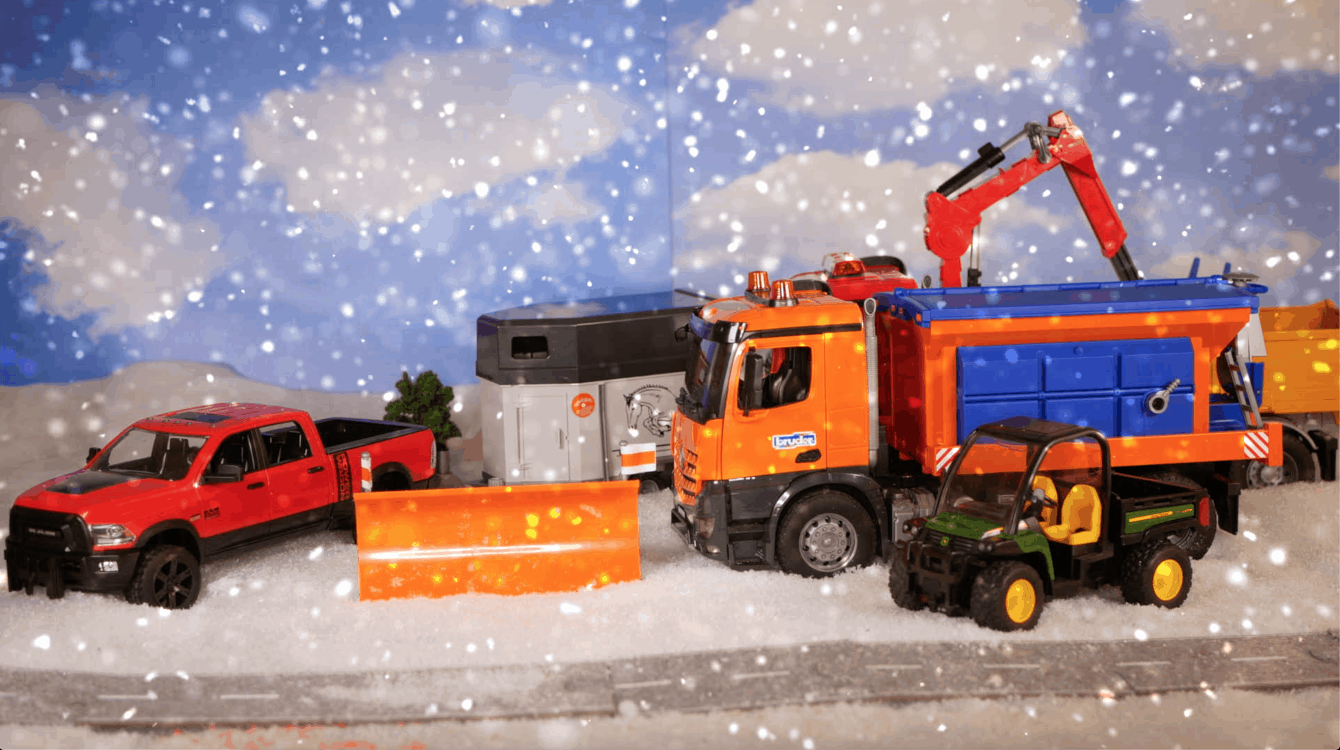 Bruder trucks and dodge ram with snow plow