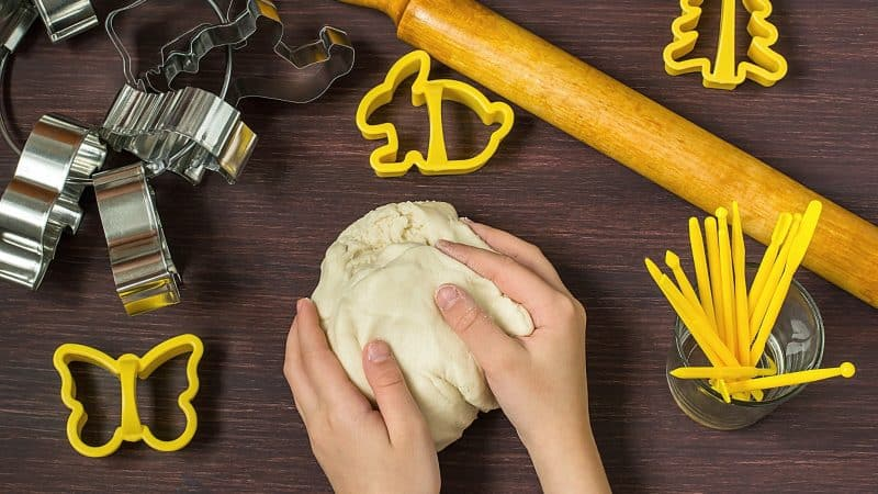 Salt dough with cookie cutters