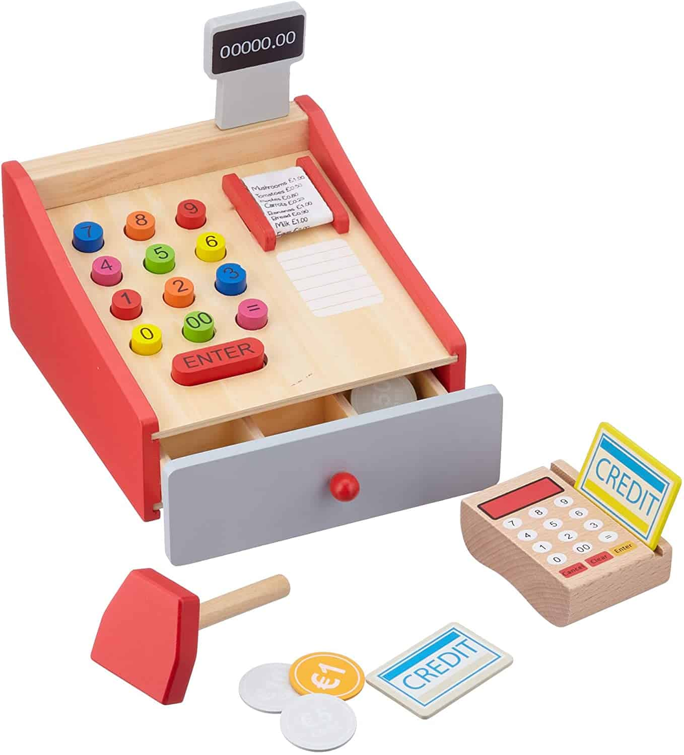 Overall nicest Jouéco toys: Wooden Cash Register with Scanner and Debit Card