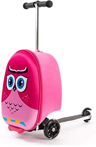 Beste handbagage kind- Roze uil kids scooter trolley