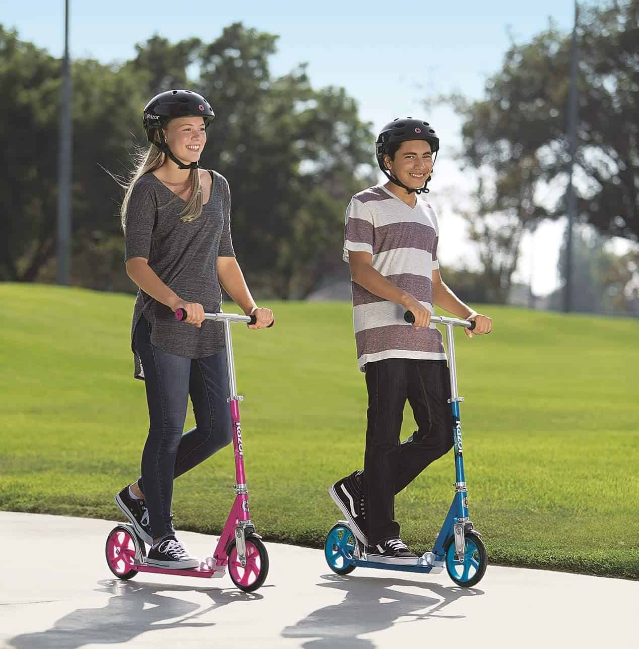 Two kids outside on the best kids scooter coverall- Razor A5 Lux Kids Kick Scooter