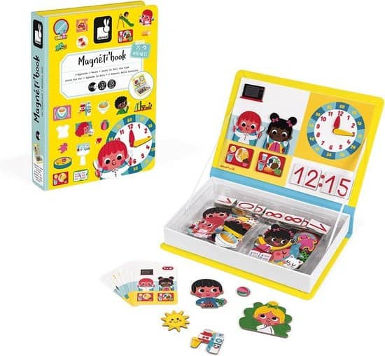 Educational magnetic game from Janod to learn to tell the time. Magnetibook Watch the clock