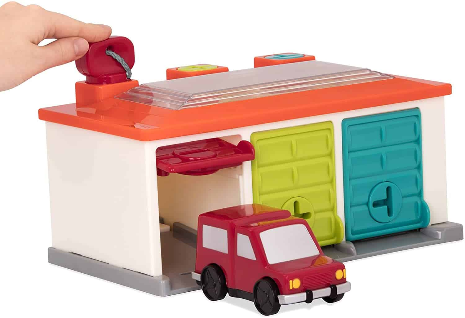 Garage with vehicles and locks: Battat shape sorting toys