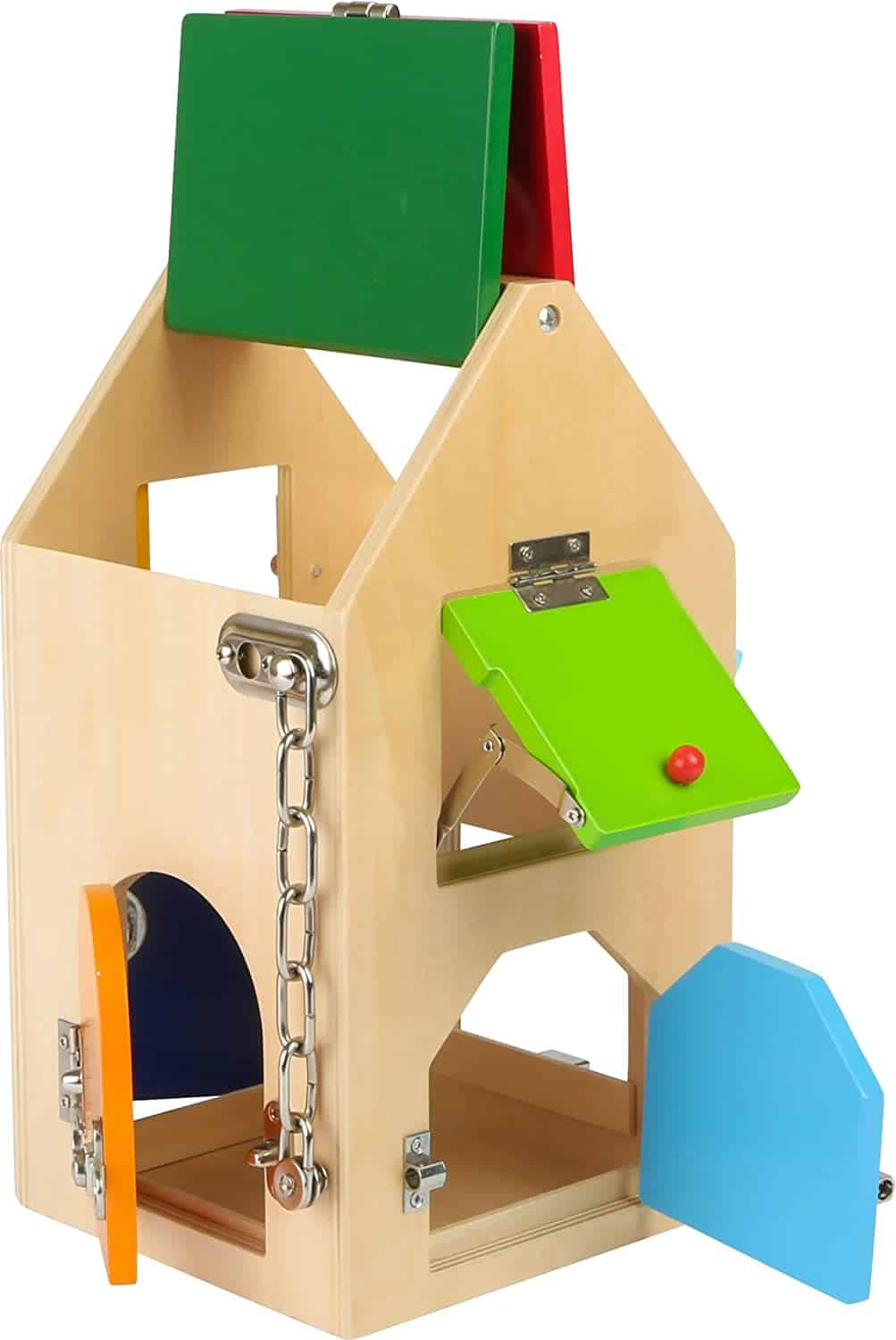 Wooden play house with doors and locks from Small Foot Company