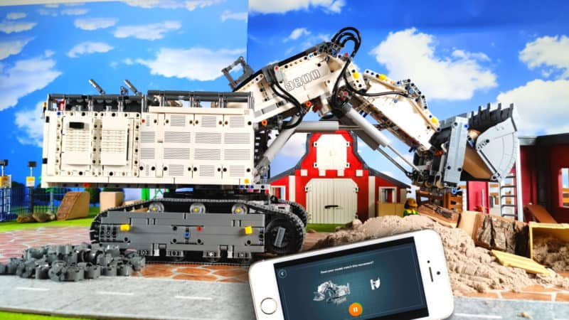 LEGO Liebherr R 9800 on the construction site with app