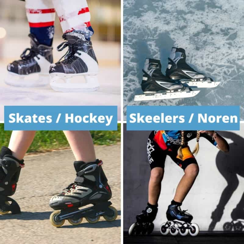 4 images with skating and hockey skates and inline skates and speed skates