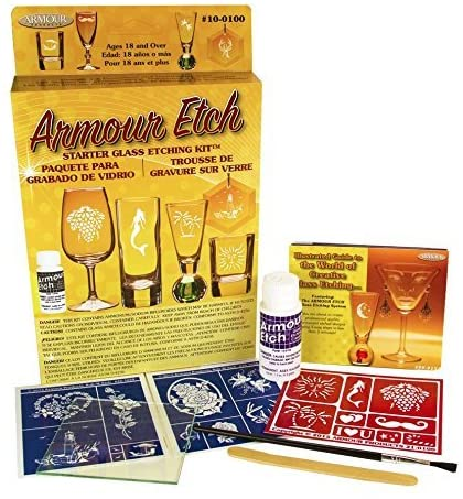 Glass etching kit for beginners to get started with glass etching