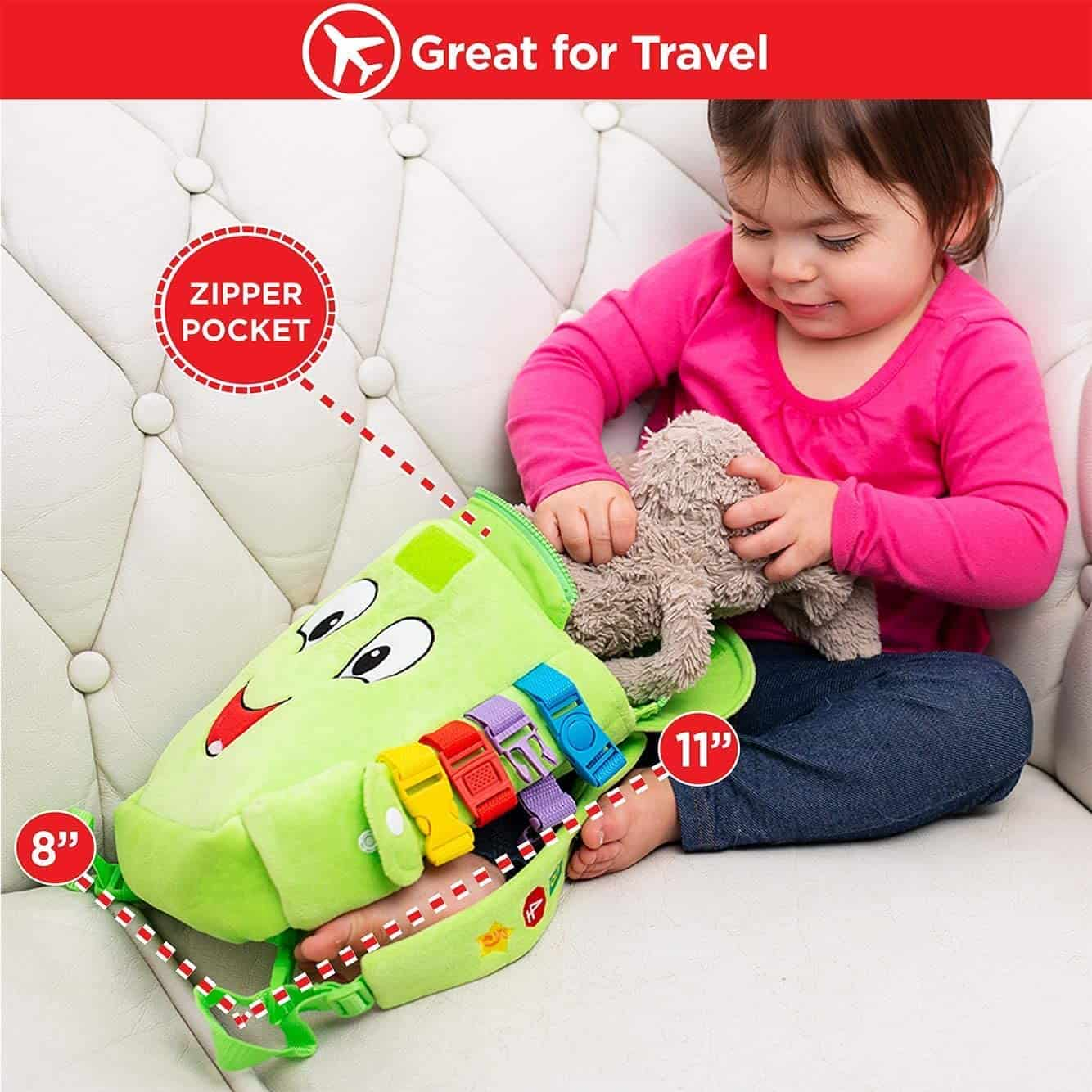 Best activity backpack for travel: Buckle Toy Buddy